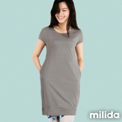 【Milida,全店七折免運】-早春商品-素色款-簡約休閒口袋洋裝 5