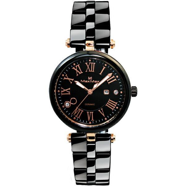Max Max MAS5129-1時尚艷麗玫瑰金刻度陶瓷腕錶/黑面34mm