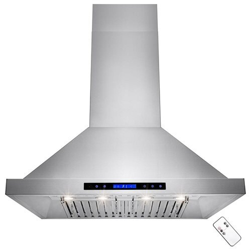 "36"" Stainless Steel Island Mount Range Hood 410 CFM Touch Screen Display Light  Baffle Filter 0"