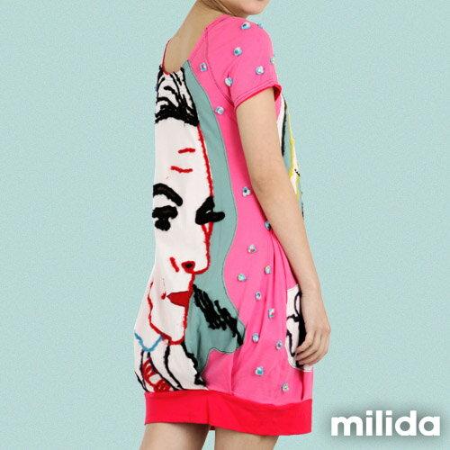 【Milida,全店七折免運】-夏季商品-拼貼款-插畫情人洋裝 3
