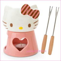 asdfkitty可愛家☆賠錢出清特價 KITTY造型陶磁巧克力鍋組/起司鍋-日本正版商品