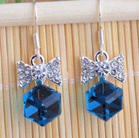 蝴蝶結方形寶石耳環~~墨綠色款EC2012 日韓  耳飾  飾品  水鑽  鋯石  鋯鑽