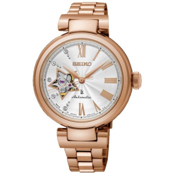 Seiko精工錶Lukia4R38-01L0G(SSA816J1)林依晨廣告款玫瑰金燦心鏤空機械腕錶白面34mm