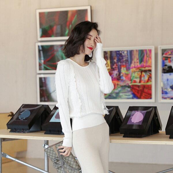 白色蕾絲針織衫/針織衣/上衣