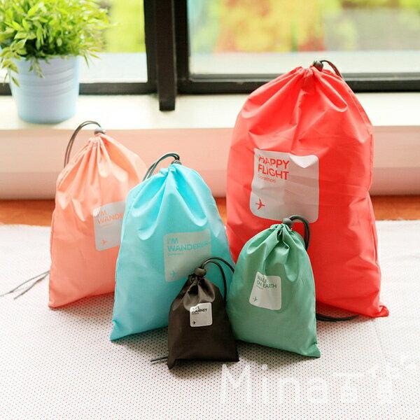mina    糖果色 抽繩 束口袋 防水 衣物 收納袋 旅行收納袋組 整理包 旅行袋