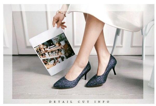 Pyf♥歐美名媛亮片宴會高跟鞋婚鞋伴娘鞋尖頭細跟加大45大尺碼女鞋