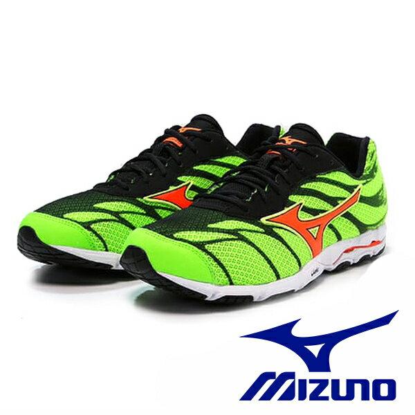 【MIZUNO 5折 │全店免運】MIZUNO  男路跑鞋 WAVE HITOGAMI 3 綠 0
