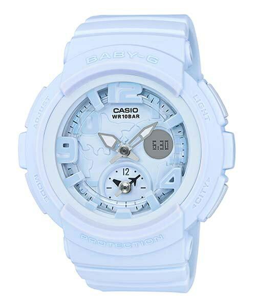 CASIO BABY-G BGA-190BC-2B海灘旅行雙顯流行腕錶/藍44mm
