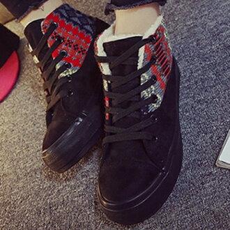 帆布鞋 休閒鞋-時尚短絨拚色民族風高筒平底女鞋子2色72ac32【獨家進口】【米蘭精品】