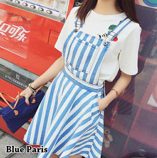 吊帶裙 - 胸前口袋設計條紋蓬蓬吊帶短裙【23292】藍色巴黎 - 現貨+預購 0