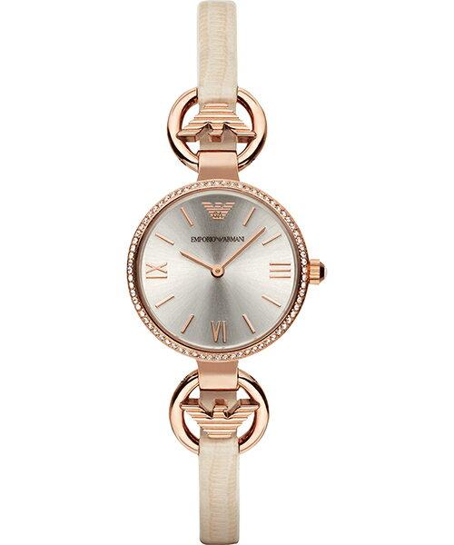 EMPORIO ARMANI/AR1886氣質美人晶鑽腕錶/米灰面28mm