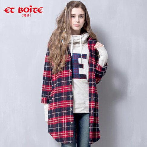 【5折限定↘】ET BOiTE 箱子  長版厚襯衫式外套 - 限時優惠好康折扣