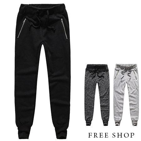 Free Shop【QM88860】日韓系民族風麻花質感彈力縮口褲束口褲棉質長褲棉褲‧三色