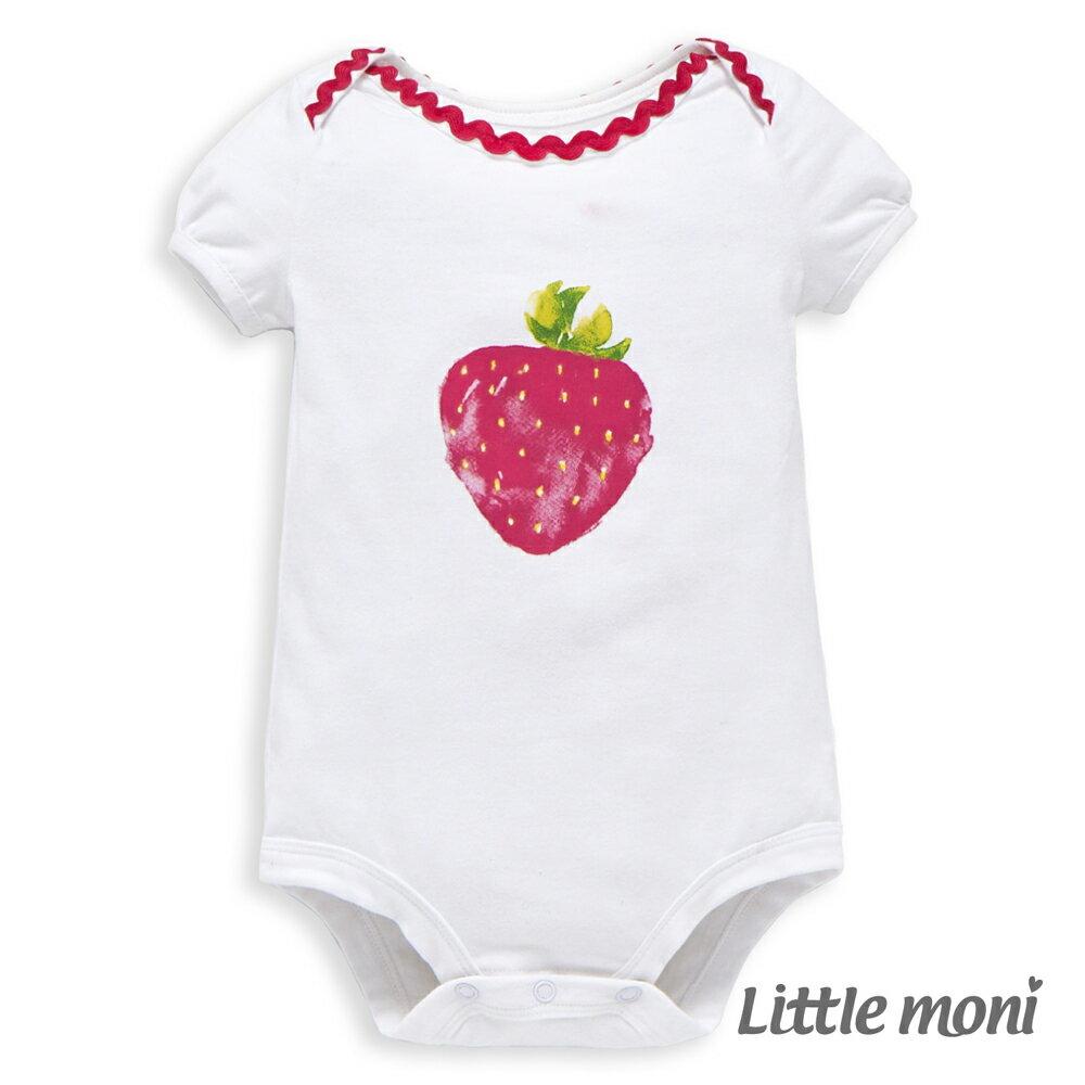 Little moni 水彩暈染草莓包屁衣 - 白色