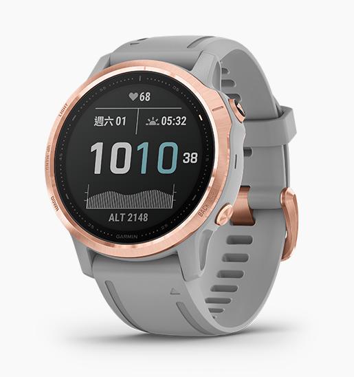 Garmin fenix 6S GPS腕錶- 玫瑰金錶圈/灰色錶帶