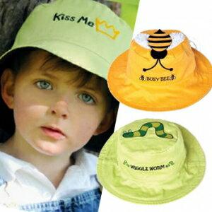 小烏龜精品童裝店:UPF50+高防曬指數‧保護細緻肌膚Flapjackkids雙面遮陽帽-小黃蜂小毛蟲