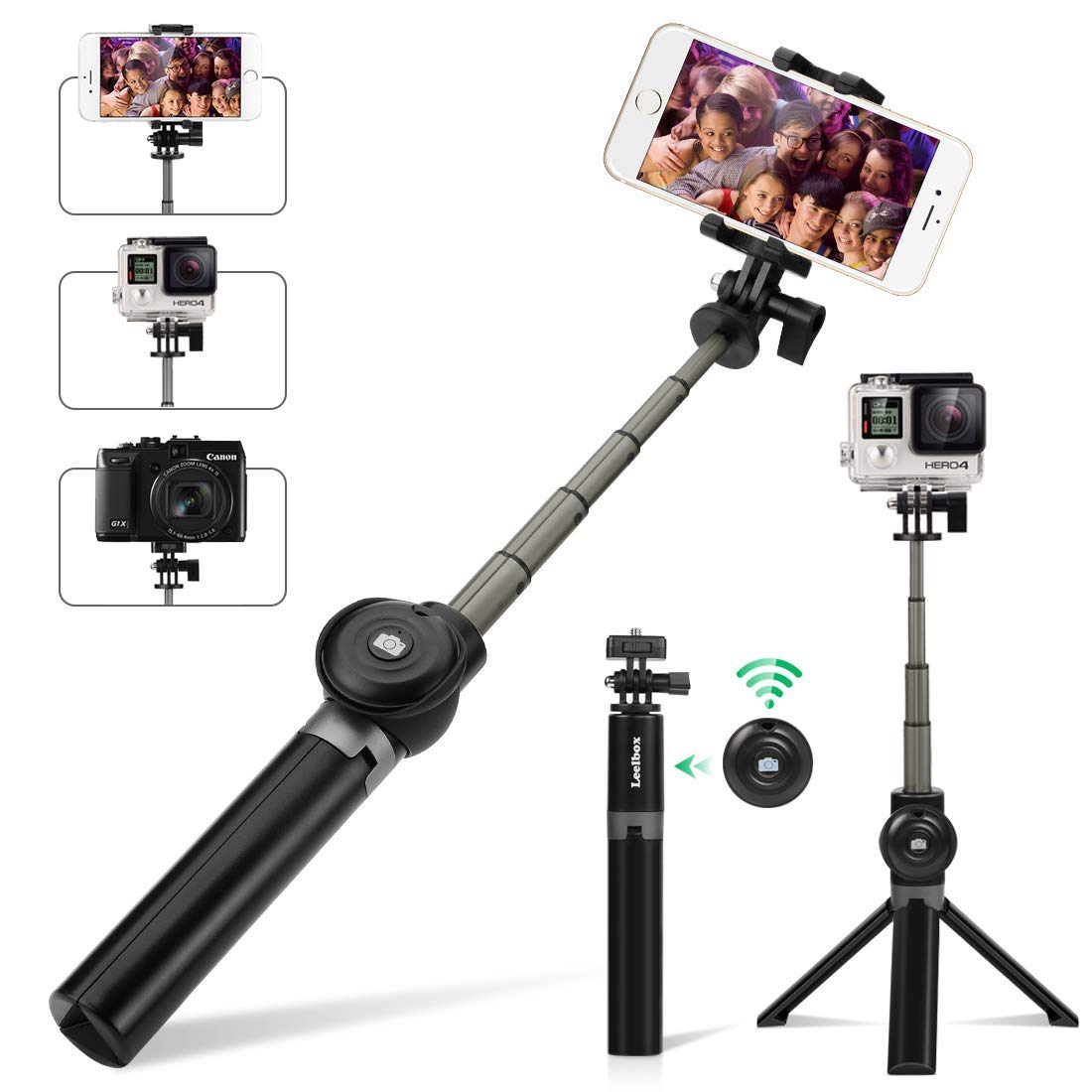 c8f75b369150fd Leelbox Bluetooth Selfie Stick with Tripod and Detachable Wireless Remote  Extendable Monopod Stand Holder Universal for