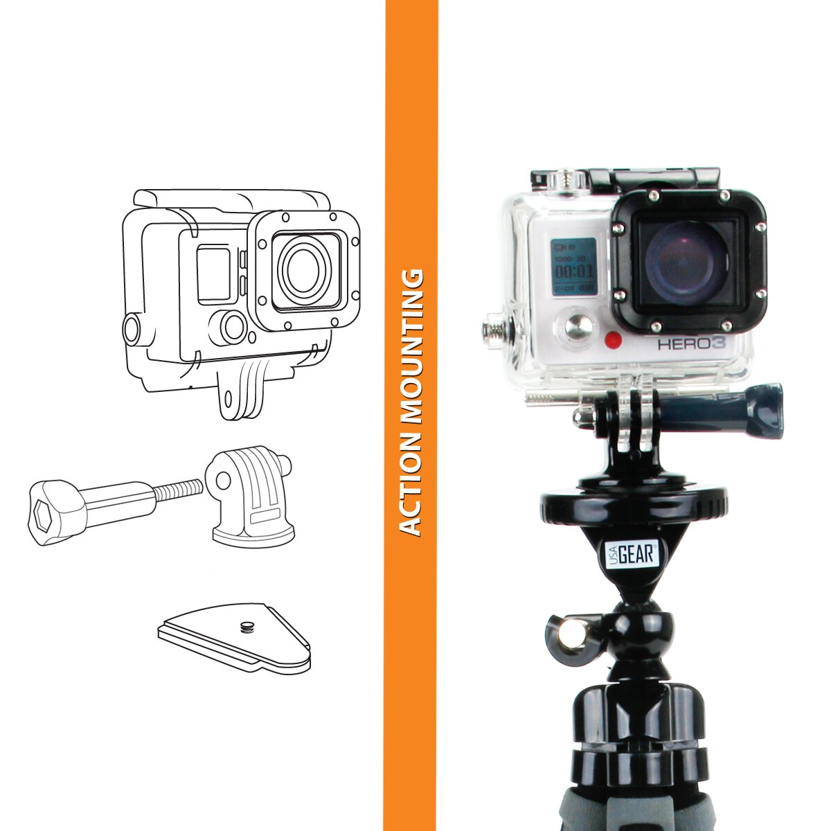 USA GEAR Flexible Tripod with 360-Degree Rotating Mount, Smartphone Adapter and Quick-Release Plate 5