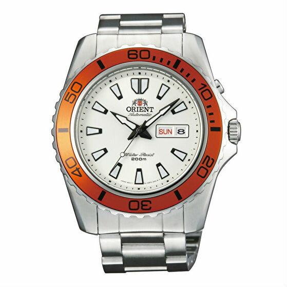 Orient 東方錶(FEM75007W)經典潛水機械腕錶/白面橘框44.5mm