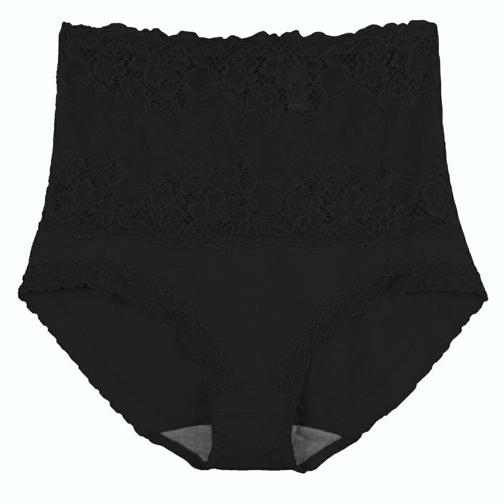 【Emon】棉質高腰竹炭蕾絲三角褲(黑) 1