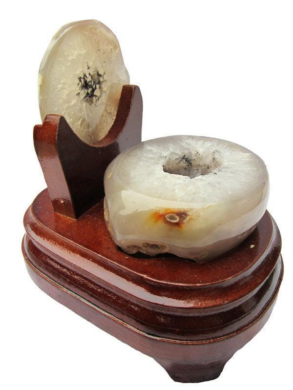 大口白水晶聚寶盆擺件0.88千克瑪瑙聚寶盆