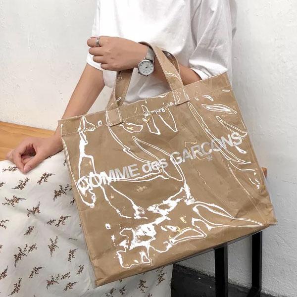 大防水牛皮紙包透明包果凍包塑膠牛皮紙袋包手提袋字母英文韓國歐美ANNAS.