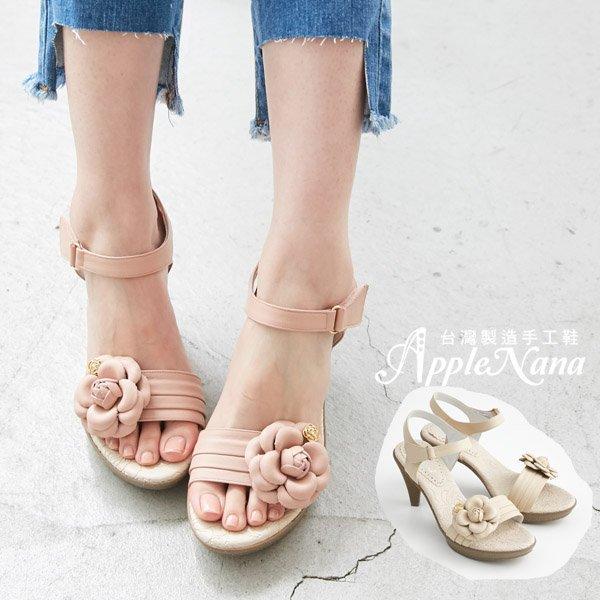 AppleNana蘋果奈奈【QB133011480】清新金釦玫瑰真皮低跟涼鞋 0