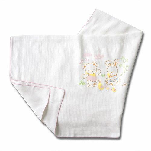 Baby City娃娃城 - 天絲棉紗布浴巾 (寶貝熊) 粉色