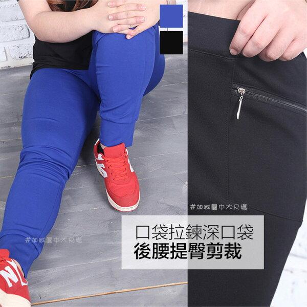 加減圓中大尺碼:[加減圓中大尺碼]口袋拉鍊運動褲(IJ2783)