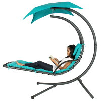 Best Choice Products Outdoor Porch Hanging Curved Chaise Lounge Chair Swing Hammock w/ Pillow, Stand, Canopy - Teal