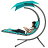 Best Choice Products Hanging Chaise Lounger Chair Arc Stand Air Porch Swing Hammock Chair Canopy (Teal) 0