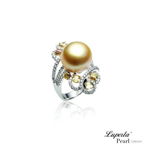 大東山珠寶 燦爛月光 頂級真鑽18K白金南洋金珍珠戒指 4