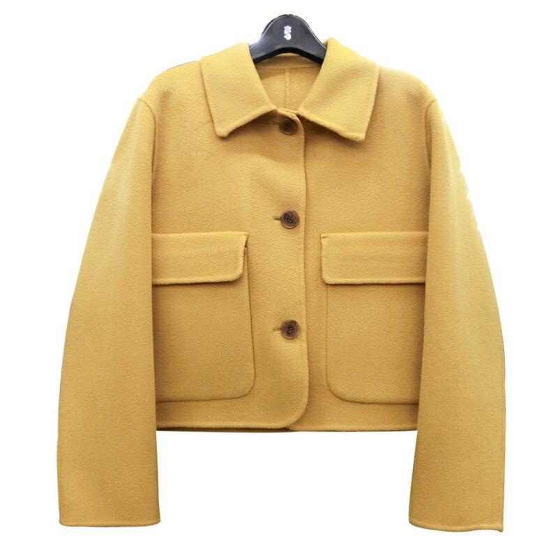 毛呢大衣羊毛外套-短款翻領純色寬鬆女外套2色73wb22【獨家進口】【米蘭精品】 0