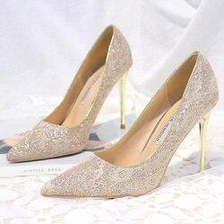 高跟鞋 金粉色婚鞋蕾絲高跟鞋淺色尖頭細跟單鞋女白色婚紗照新娘鞋宴會鞋DF