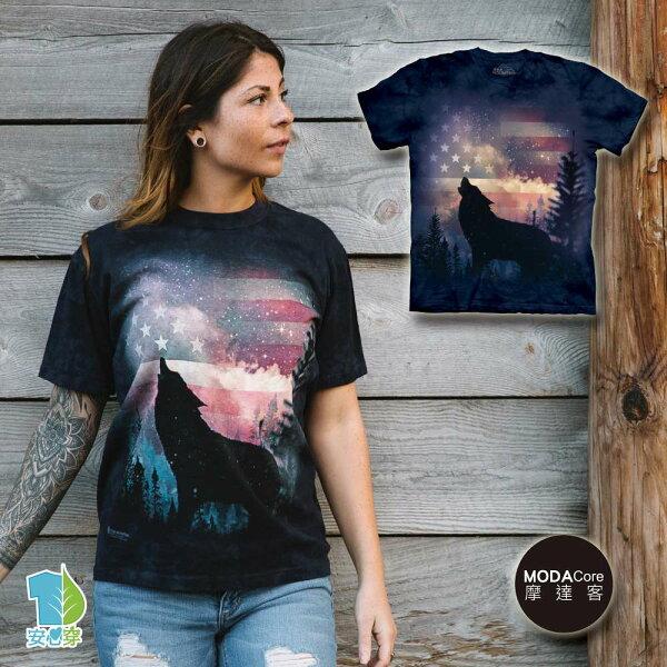 【摩達客】(預購)美國進口TheMountain愛國狼嚎純棉環保藝術中性短袖T恤
