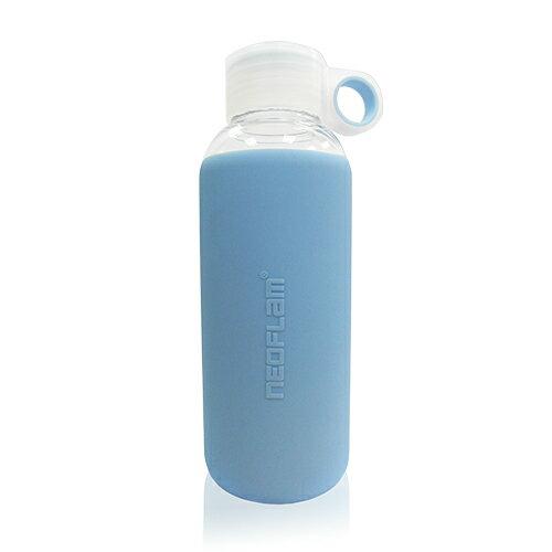 NEOFLAM耐熱玻璃矽膠隨身壺(粉藍色)420ML