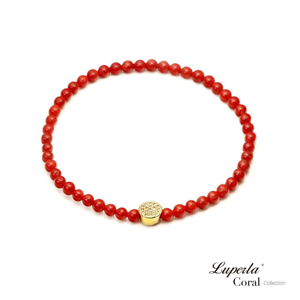 大東山珠寶 富貴永恆 頂級天然全紅珊瑚手鍊 3-4mm 0
