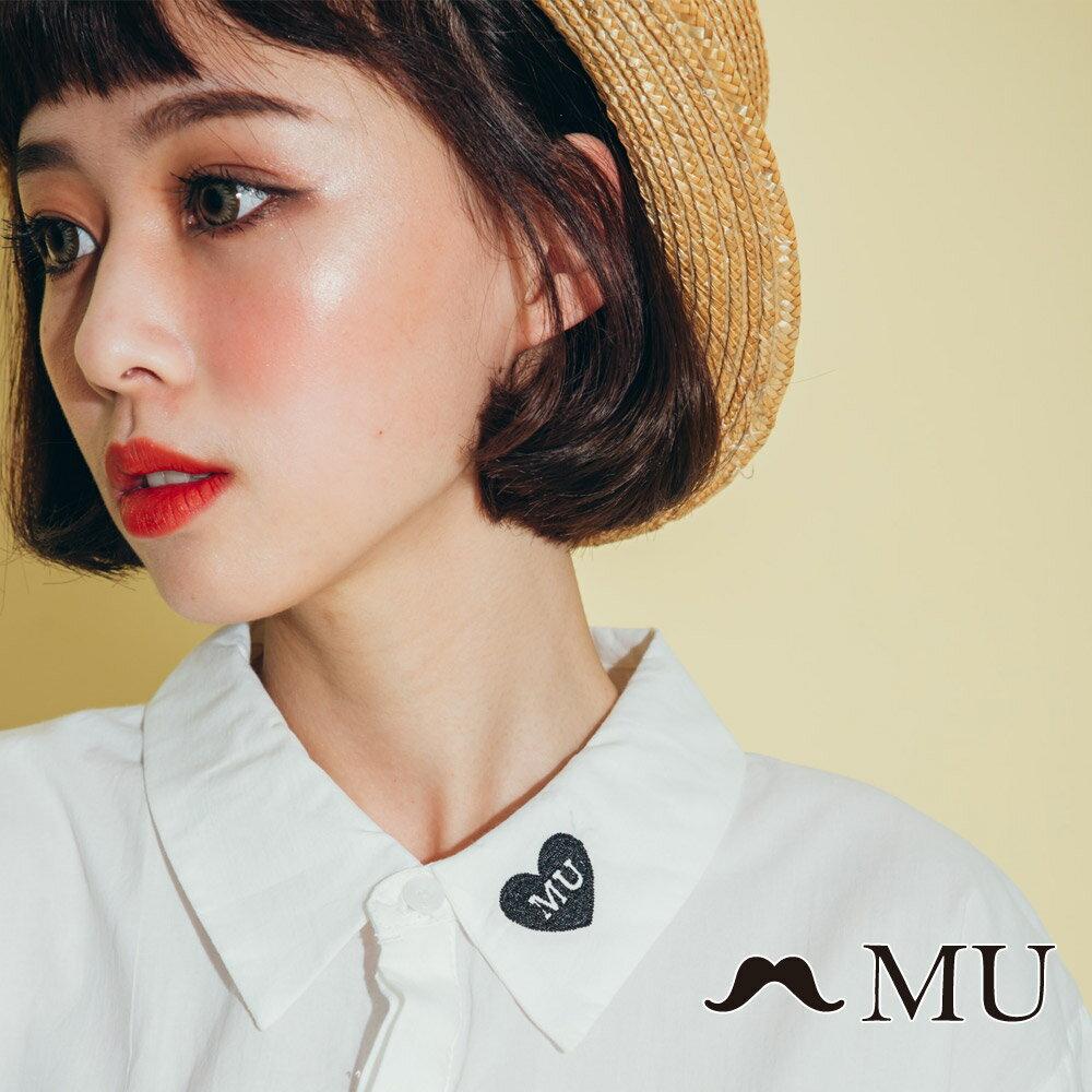 【MU】領子愛心刺繡長版襯衫(2色)8323263 5
