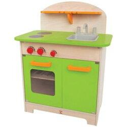 止德國 Hape 愛傑卡-大型廚具台(綠色)木製玩具 3824元