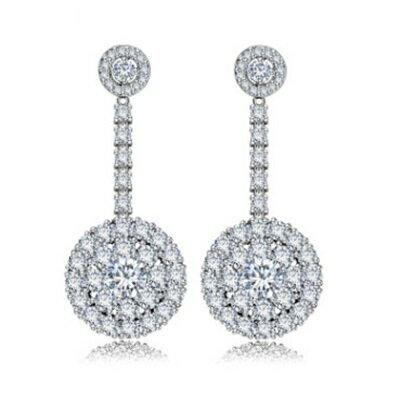 純銀耳環鍍白金鑲鑽耳飾~ 高調奢華耀眼七夕情人節 女飾品73cr108~ ~~米蘭 ~
