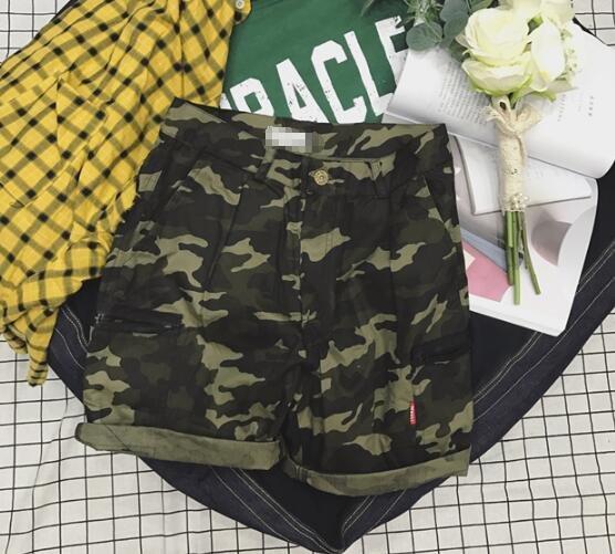 FINDSENSE Z1 日系 時尚 街頭 潮 男 複古 工裝 迷彩 休閒短褲 五分褲 海灘短褲