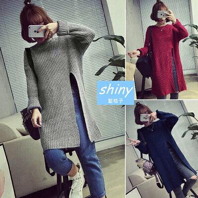 【V1383】shiny藍格子-穠纖合度.純色高開叉圓領寬鬆長款毛衣上衣