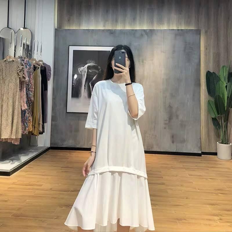 外流 車摺剪裁 拼襯裙擺 長版棉T洋裝(共3色) *現貨+預購*