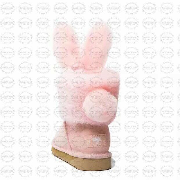 OUTLET正品代購 澳洲 UGG x DUEPLAY 聯名兔耳朵 雪靴 保暖 真皮羊皮毛 雪靴 短靴 粉色 2