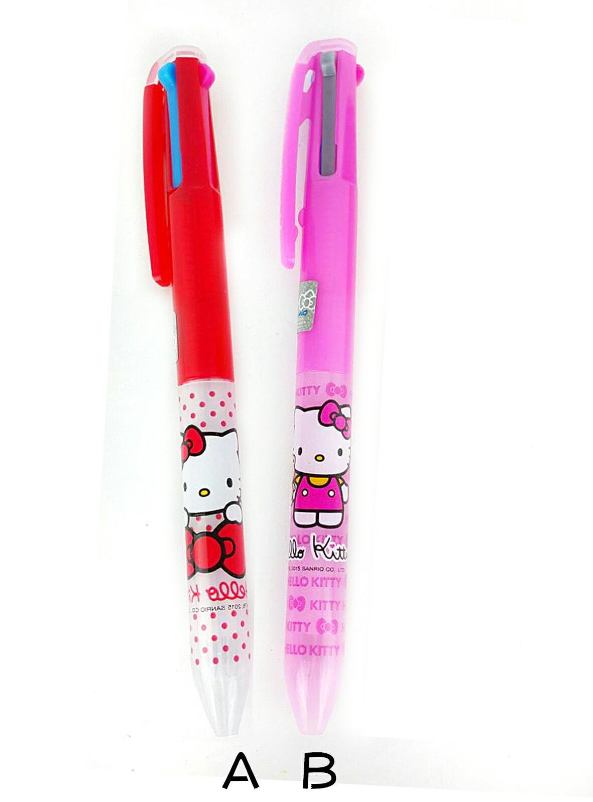 X射線【C962162】KITTY3色自動原子筆-2款,多色筆/多用筆/油性筆/螢光筆/油漆筆
