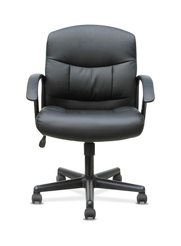 Gentil Sadie Mid Back Task Chair  Fixed Armed Computer Chair For Office Desk, Black