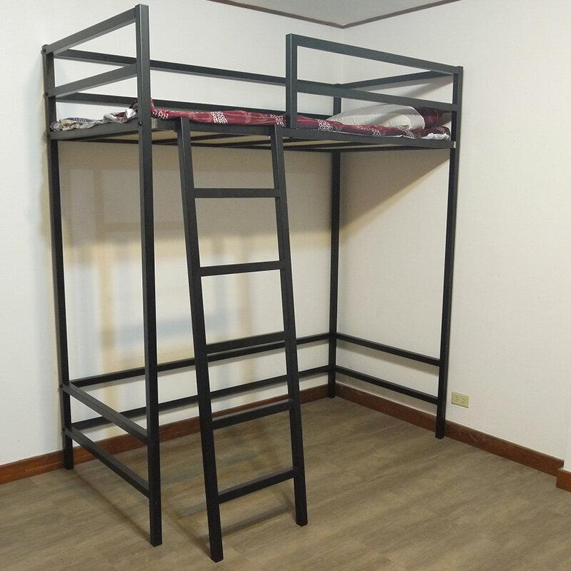 【全新免運】床架設計 消光黑 高架床 寢具 挑高床 3.5尺38mm方管單人床架高加大床 空間特工【O2C718】