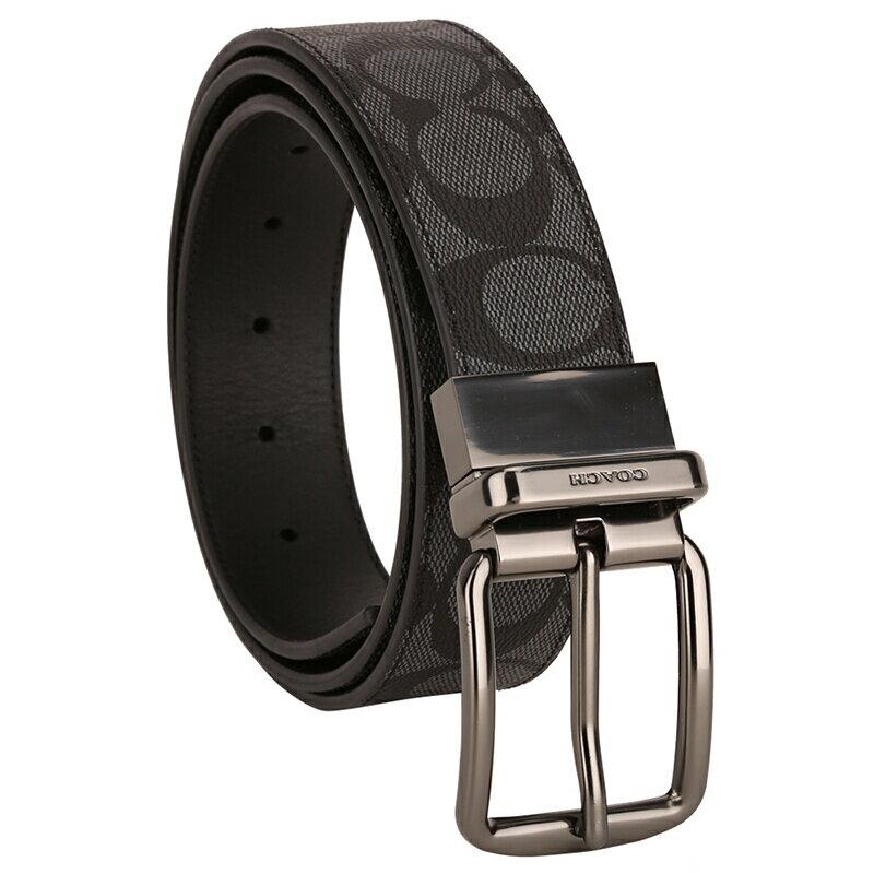 COACH 男士炭灰色PVC腰帶皮帶 F64839 1