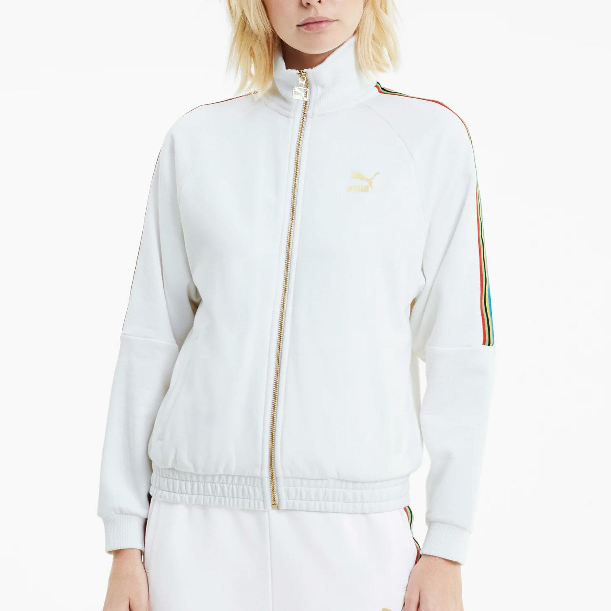 【領券最高折$400】PUMA TFS 女裝 外套 夾克 棉質 寬版 立領 側袋 LOGO 印花 白金 歐規【運動世界】59836902
