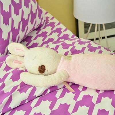 3M吸濕排汗 - Pure One 千鳥格紋-紫-雙人三件式床包組